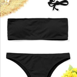 Black Tube Top and Bottom Bikini Set with Straps